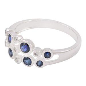 Bague Mia avec et saphirs diamants en or blanc 10k