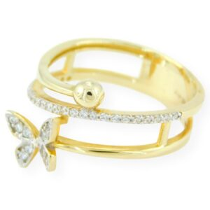 Bague Papillon Elena avec zircon en or jaune