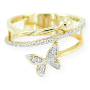 Bague Papillon Elena avec zircon en or jaune 10k
