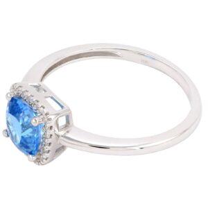 Bague topaze & diamant Elena en Or blanc 10k