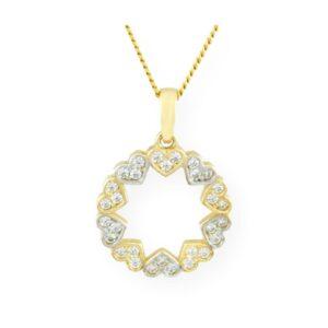 collier ti amo avec pendentif anneau cœur 2 tons en or jaune 10k