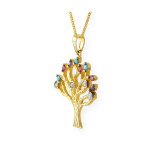 collier avec pendentif arbre de vie multicouleur