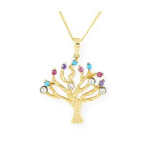 collier avec pendentif arbre de vie oxyde de zirconium multicolore en or jaune 10k