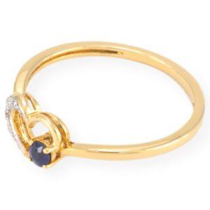 Bague cœur avec diamant & saphir en or jaune 10k