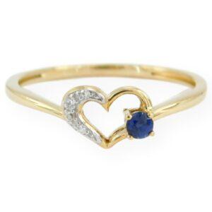 Bague cœur diamant & saphir en or jaune 10k