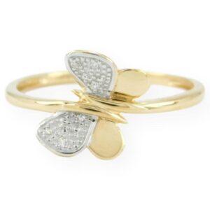 bague papillon avec diamant en Or jaune 10k