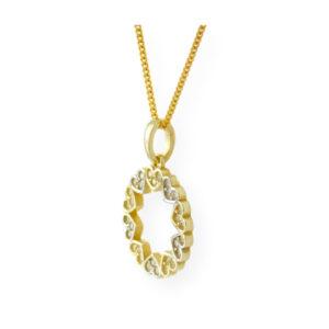 collier ti amo avec pendentif anneau cœur 2 tons en or jaune
