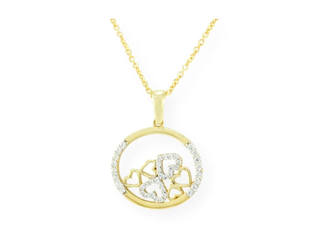 collier avalanche de cœur avec chaîne en or jaune 10k