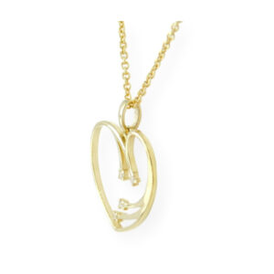 Collier femmes cœur étincelle avec chaîne en or jaune