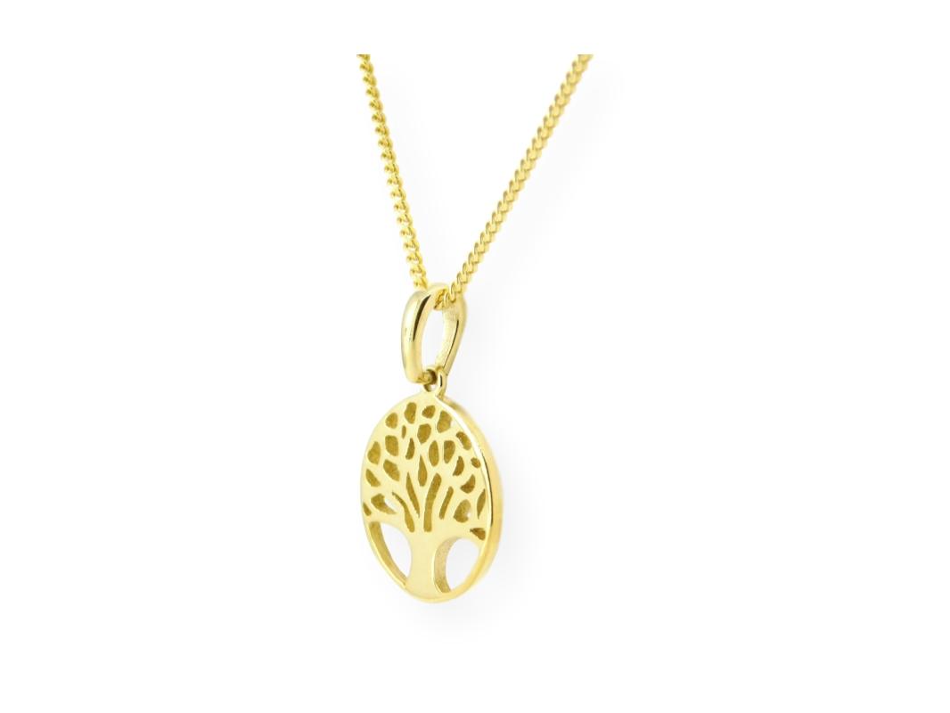 Collier avec pendentif arbre de vie en or jaune 10k