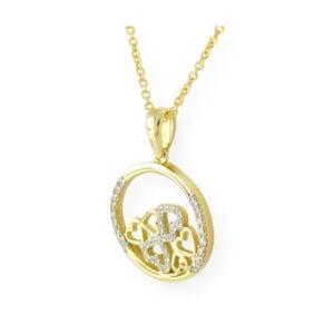 collier avalanche de cœur avec chaîne en or jaune