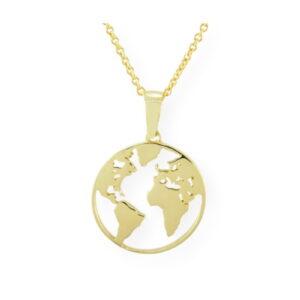 Collier avec pendentif carte du monde en or jaune 10k