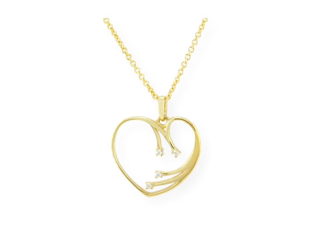 Collier femmes cœur étincelle avec chaîne en or jaune 10k