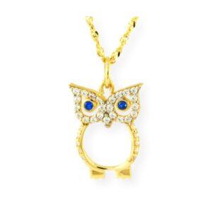 collier avec un pendentif hibou en or jaune 10k