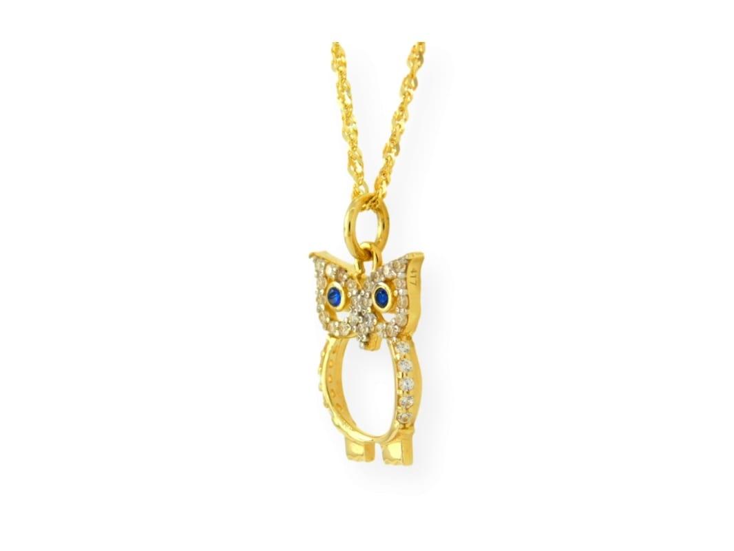 collier avec pendentif hibou en or jaune