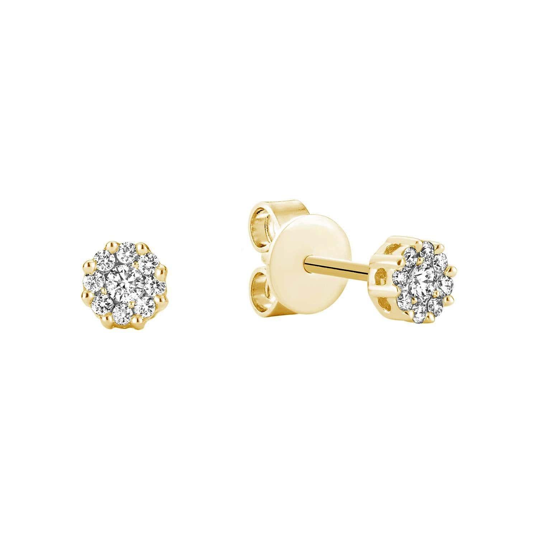 Magnifique boucle d'oreilles grappe de diamants avec 0,14 pts en or jaune 10k