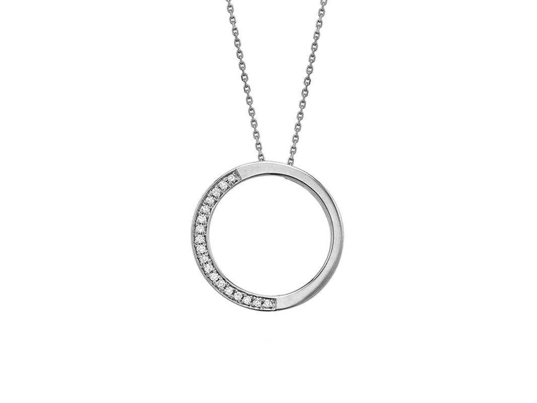 Pendentif demi cercle avec 18 diamant 5 pts en or blanc 10k