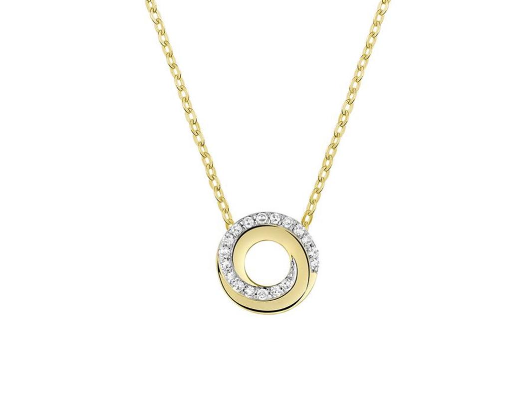 Pendentif spirale avec 18 diamants en or jaune 10k