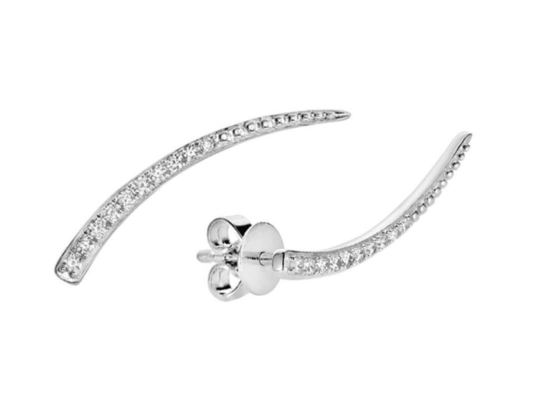 Boucle d'oreilles clous avec diamants en or blanc 10k