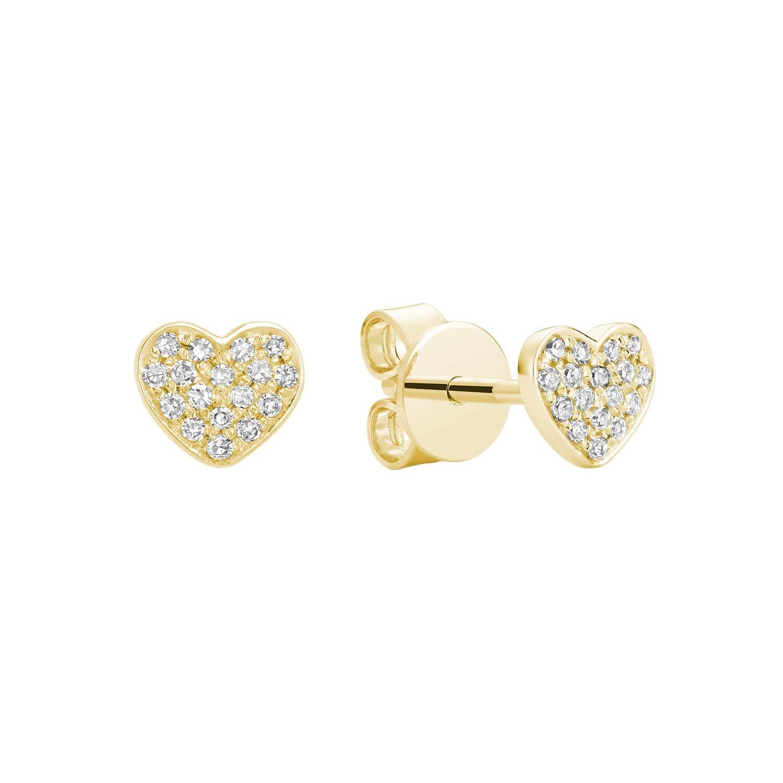 Boucle d'oreilles cœur avec 16 diamants en Or jaune 10k