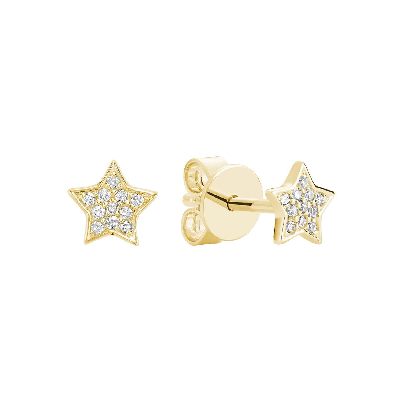 Boucle d'oreilles étoile avec 18 diamants en or jaune 10k