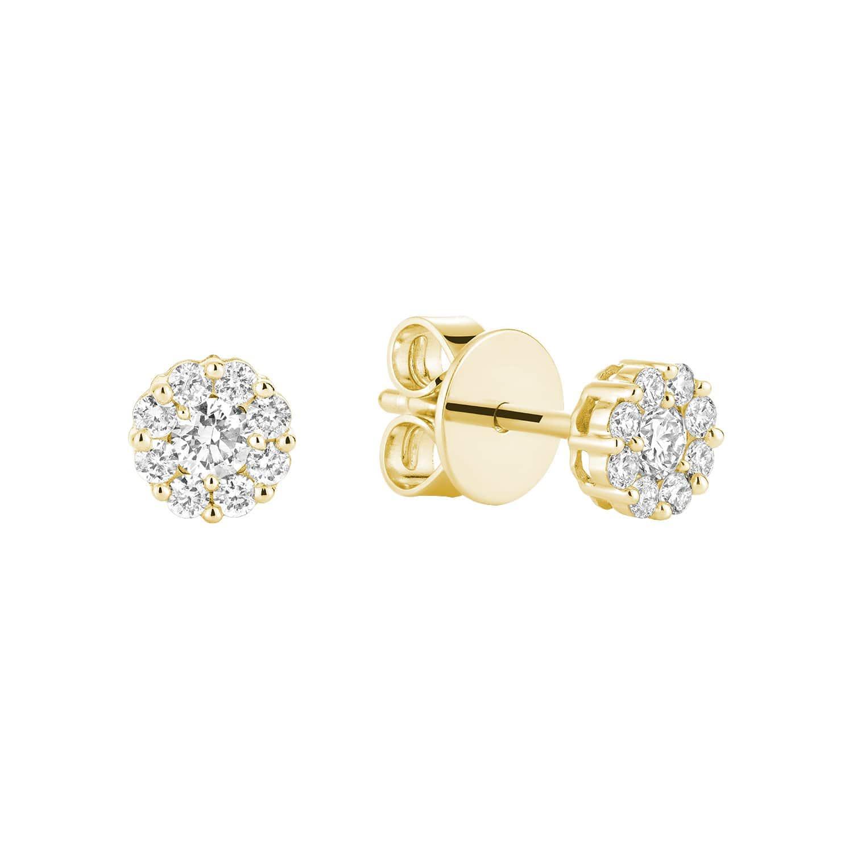 Boucle d'oreilles grappe avec diamants 0,34 pts en or jaune 10k
