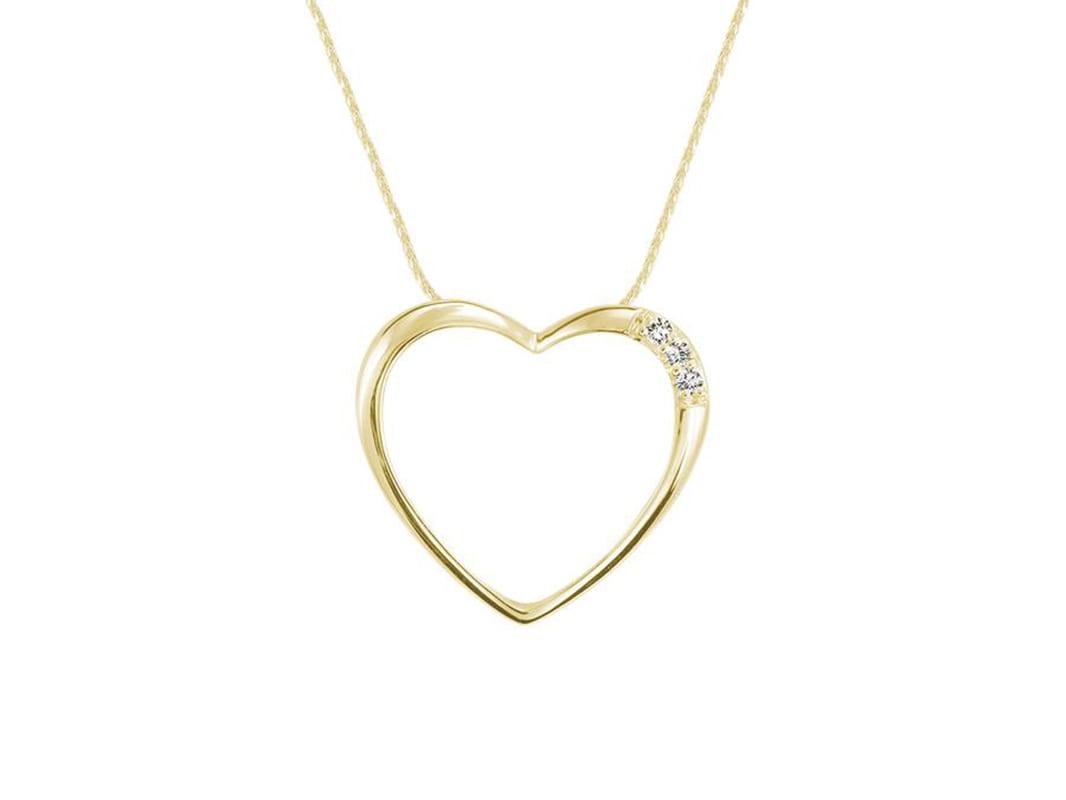 Pendentif cœur avec 3 diamants 0.5 pts en or jaune 10k