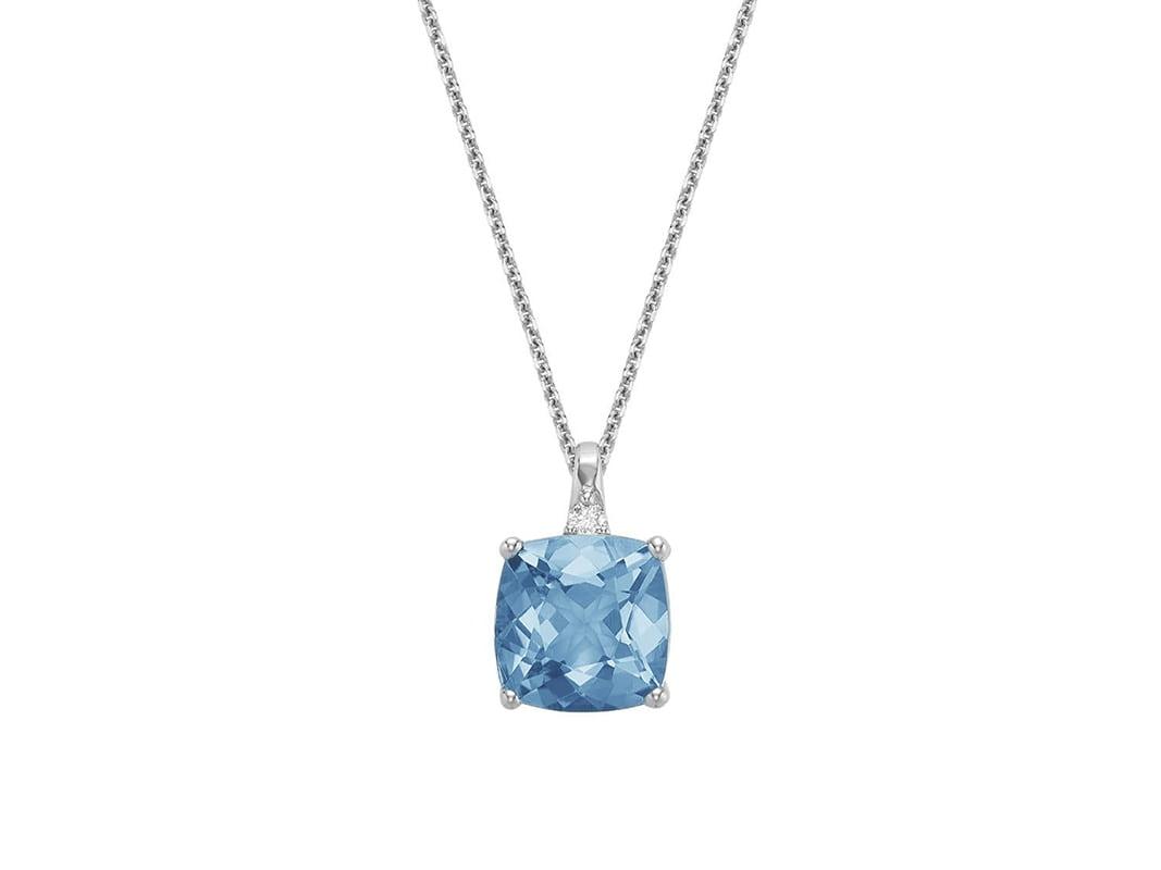 Pendentif topaze bleu taillée coussin et diamant avec une chaine en or blanc 10k