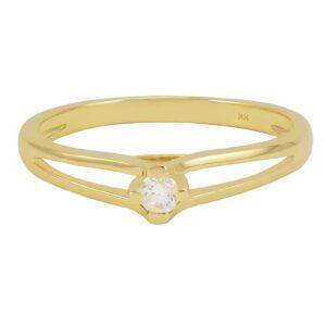 Bague diamant solitaire à tige fendue or jaune 10k