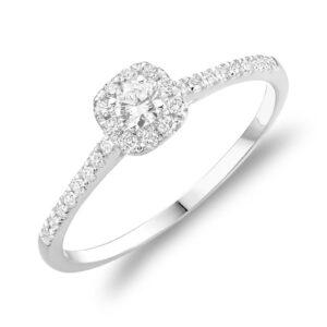 Bague fiançailles halo 0.21ct de diamant or blanc 10k
