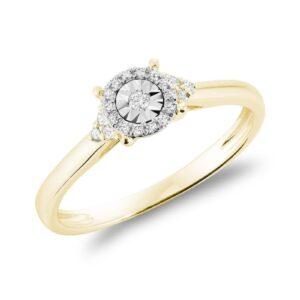 Bague illusion avec 0.10ct de diamant en or jaune 10k