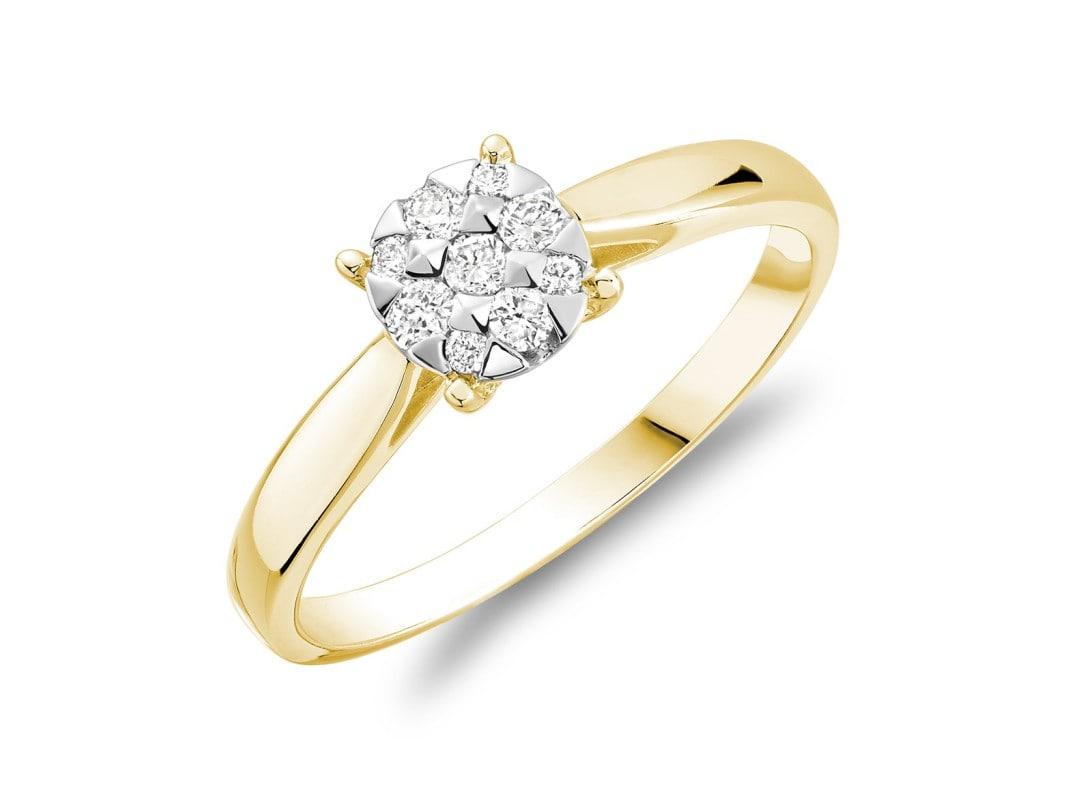 Bague illusion avec 0.14ct de diamant en or jaune 10k