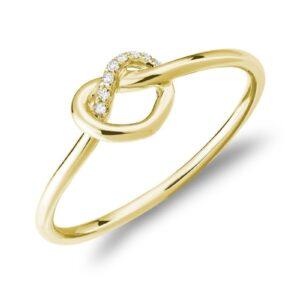 Bague nœud avec 8 diamant en or jaune 10k