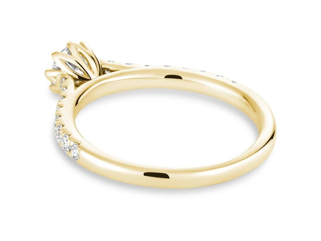 Bague de fiançailles diamant pétale or jaune 10k