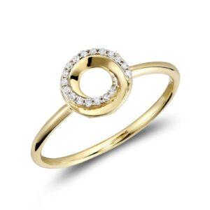 Bague spirale avec diamant en or jaune 10k