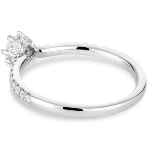 Bague de fiançailles diamant couronne en or blanc 14k