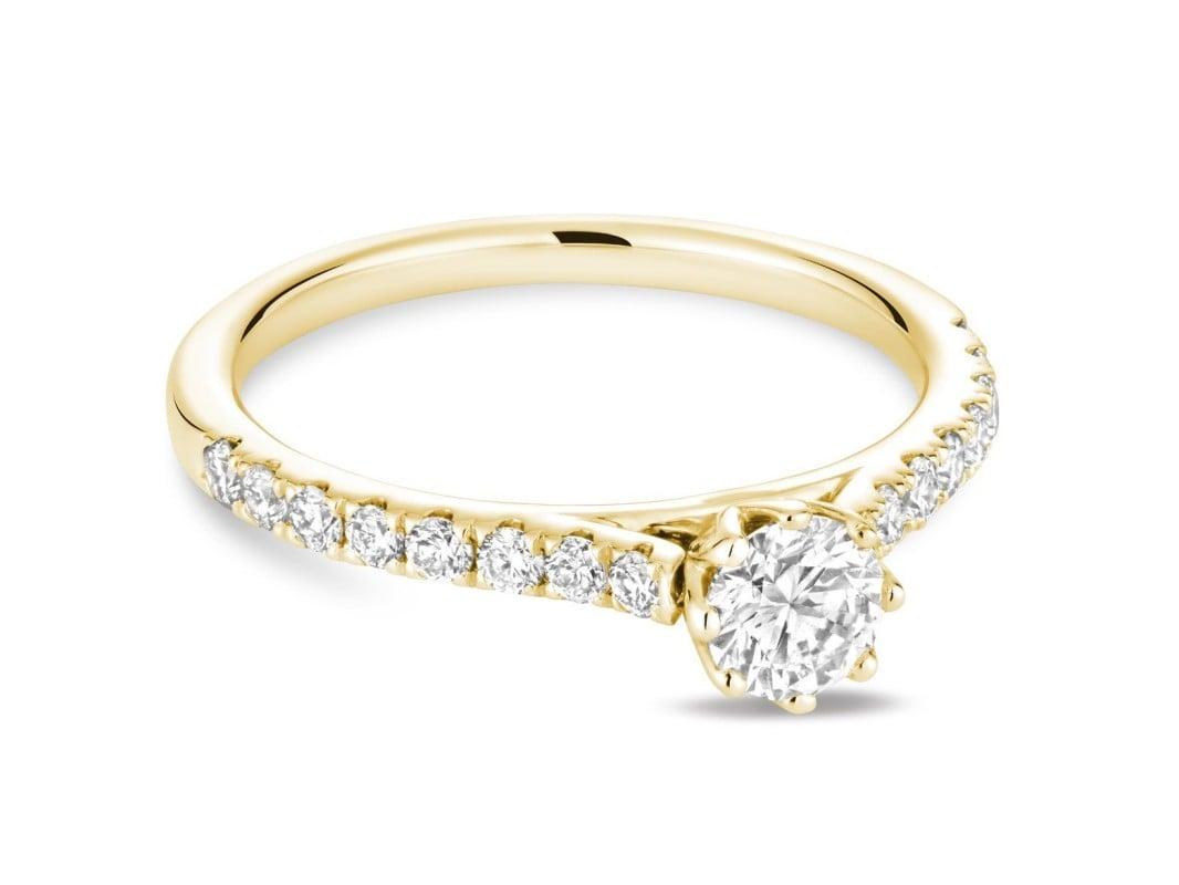 Bague de fiançailles diamant pétale en or jaune 10k