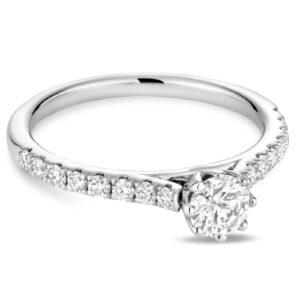 Bague de fiançailles diamant pétale or blanc 14k