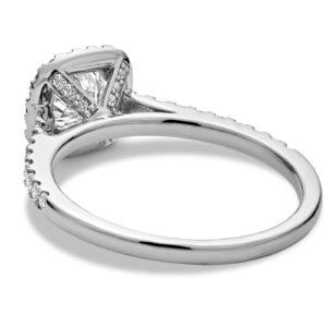 Bague de fiançailles diamants halo en or blanc 10k
