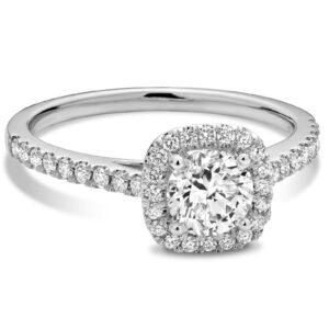 bague de fiançailles en diamants halo en or blanc10k