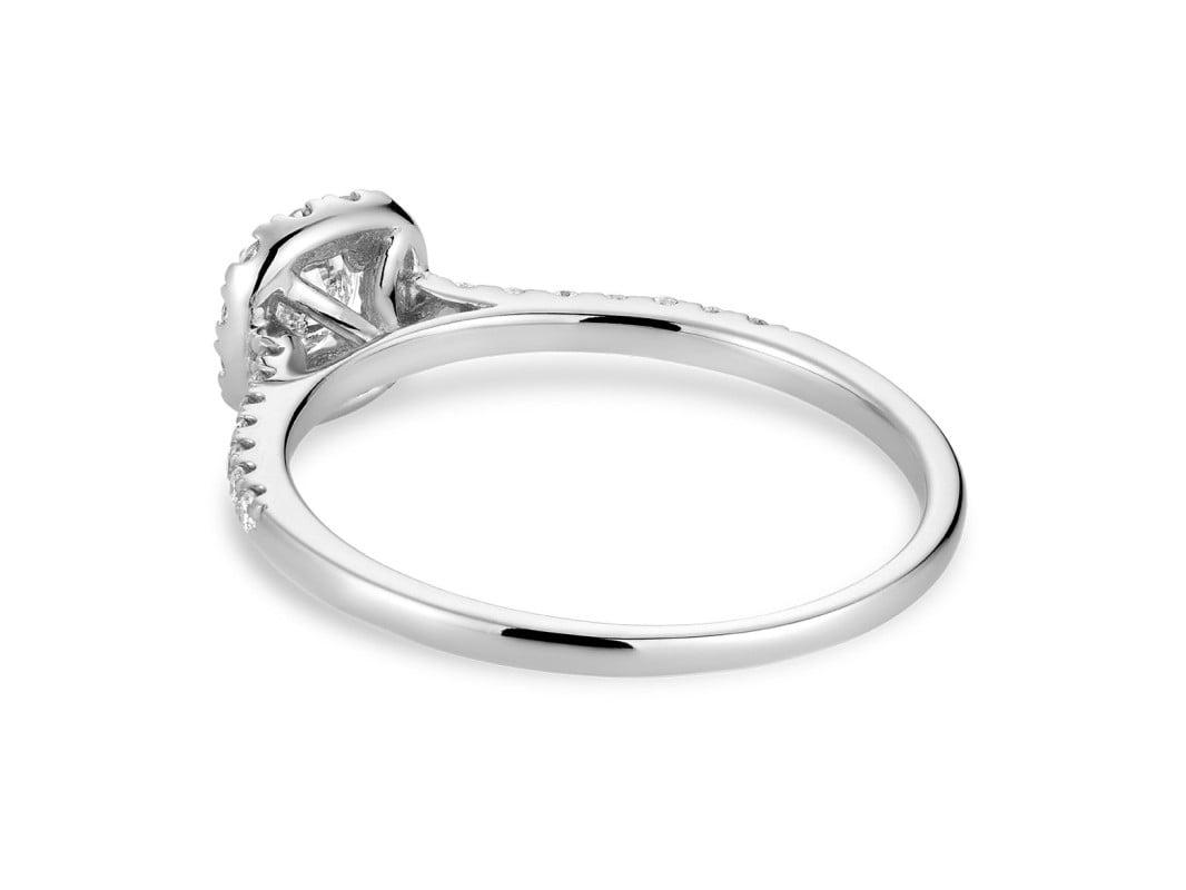 bague de fiançailles halo avec 0.49ct de diamants en or blanc 10k.