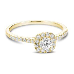bague de fiançailles halo avec 0.49ct de diamants en or jaune 10k.
