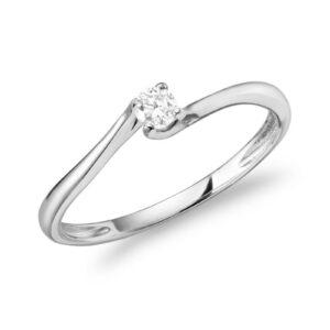 Bague solitaire avec 0.07ct de diamant en or blanc 10k