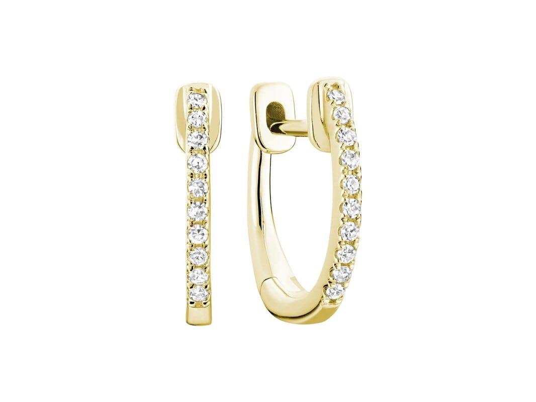 Boucle d'oreilles créoles avec diamants en or jaune 10k