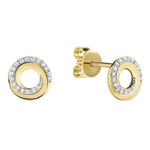Boucle d'oreilles spirale de diamants en or jaune 10k